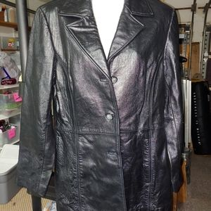 Black LEATHER JACKET.    Medium